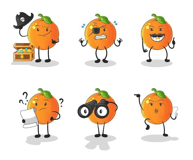Pomarańczowa postać z grupy piratów. kreskówka maskotka