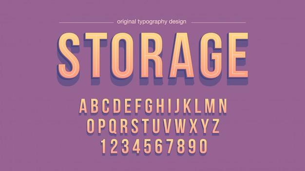 Pomarańczowa purpurowa pogrubiona typografia z cieniami