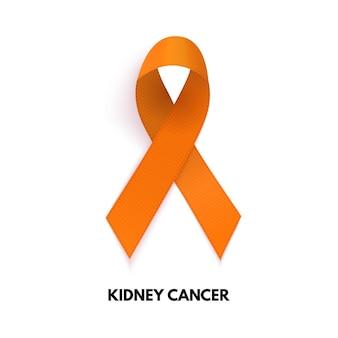 Pomarańczowa wstążka. znak raka nerki. ilustracja wektorowa eps10