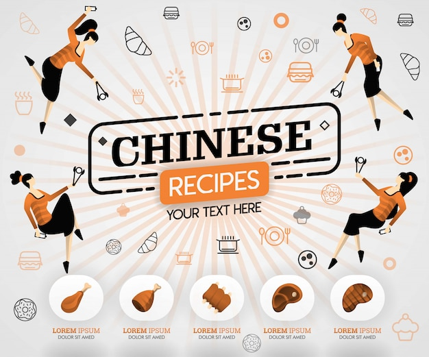 Pomarańczowe chińskie potrawy i przepisy kulinarne na mięso z grilla