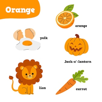 Pomarańczowe elementy z angielskimi słowami