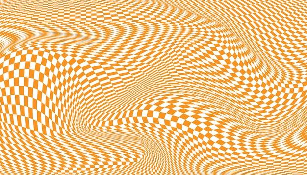 Pomarańczowe i białe zniekształcone tło w kratkę