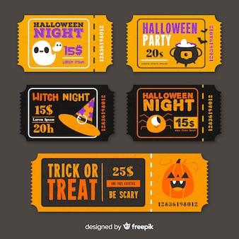 Pomarańczowe i czarne bilety w kolorach halloween