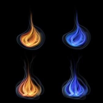 Pomarańczowe i niebieskie języki ognia