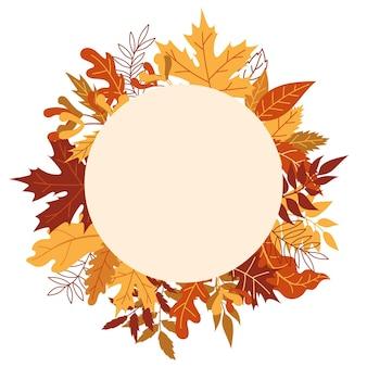 Pomarańczowe jesienne liście ilustracji wektorowych. jesienna ramka halloween z liśćmi, ikoną graficzną lub nadrukiem na białym tle