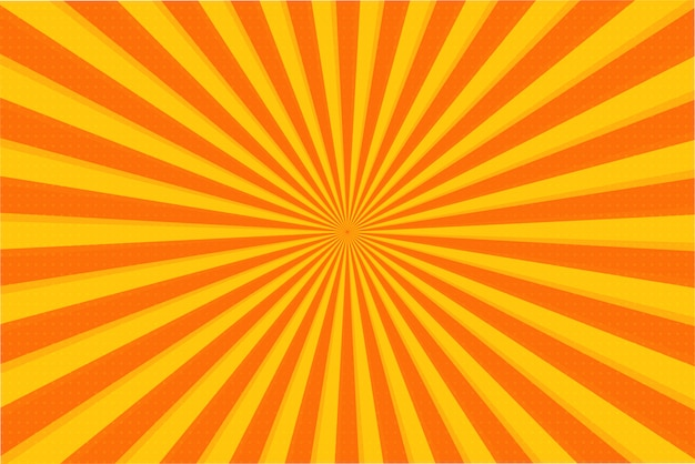 Pomarańczowe lato streszczenie komiks kreskówka światło słoneczne tło. ilustracja wektorowa