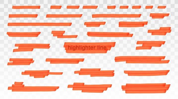 Pomarańczowe linie wyróżnienia ustawione na przezroczystym tle. marker podkreśla podkreślenie pociągnięć. wektor ręcznie rysowane stylowy element graficzny.