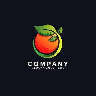 Pomarańczowe logo świeżych owoców na czarnym tle