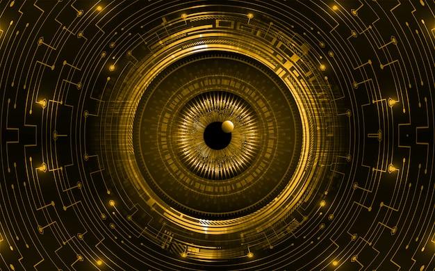Pomarańczowe oko obwód cyber przyszłości koncepcja technologii