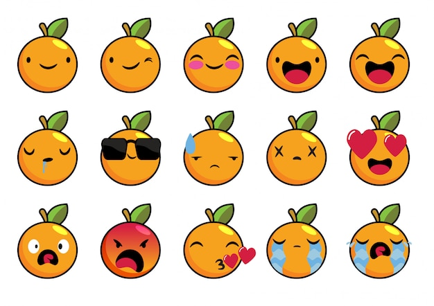 Pomarańczowe owoce z emotikon wektor zestaw znaków