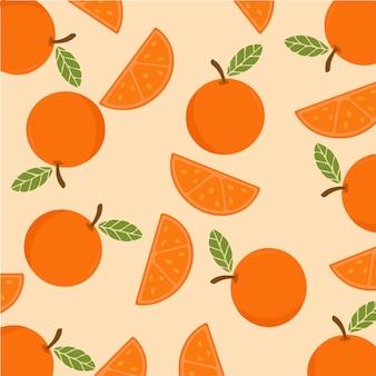 Pomarańczowe plastry wzór tła owoców ilustracja wektorowa