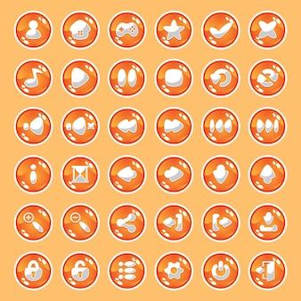 Pomarańczowe przyciski z ikonami.