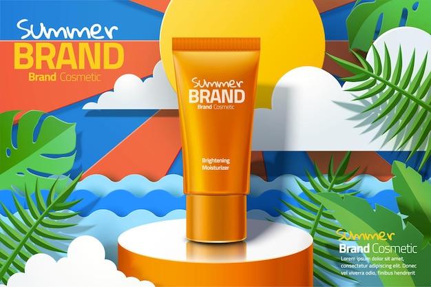 Pomarańczowe reklamy plastikowej tubki do pielęgnacji skóry