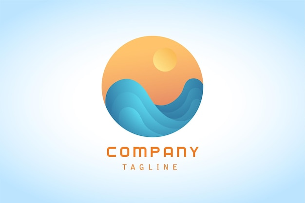 Pomarańczowe słońce z logo gradientowej naklejki z niebieską falą