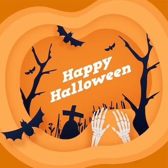Pomarańczowe tło cięcia papieru z nagimi drzewami, latającymi nietoperzami, cmentarzem i szkieletowymi rękami na happy halloween celebration.