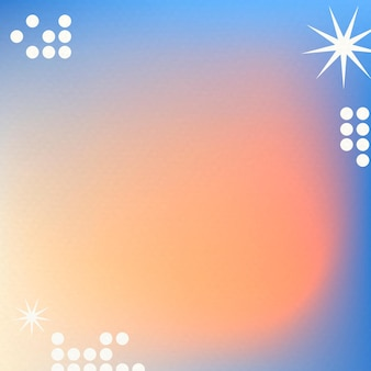 Pomarańczowe tło gradientowe w abstrakcyjnym memphis z funky border