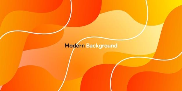Pomarańczowe tło krzywej z tłem gradientu i linii