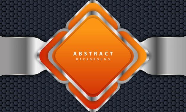 Pomarańczowe tło w stylu 3d. prostokątne tło z kombinacją sześciokątnych i srebrnych linii.