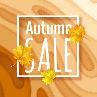 Pomarańczowe tło wycinane z papieru jesienna wyprzedaż szablon transparentu z żółtymi kształtami wyciętymi z papieru