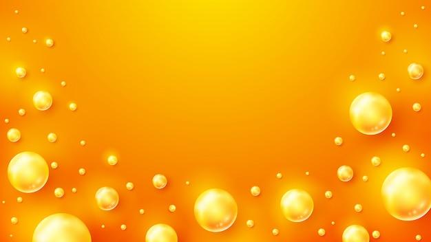 Pomarańczowe tło z błyszczącymi kulkami.