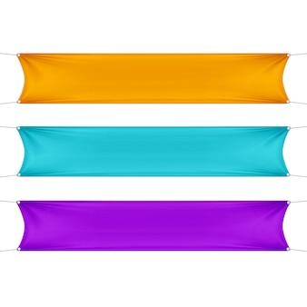 Pomarańczowe, turkusowe i fioletowe puste puste poziome prostokątne banery zestaw z linami narożnymi.