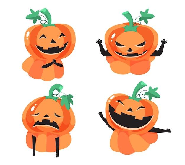 Pomarańczowe twarze z dyni z różnymi emocjami na festiwalu halloween