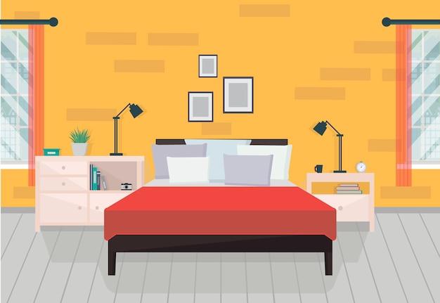 Pomarańczowe wnętrze sypialni z meblami i oknami