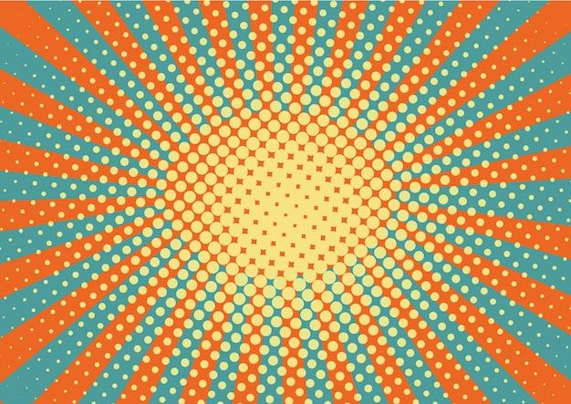 Pomarańczowe, żółte i niebieskie promienie i kropki tło pop-artu.