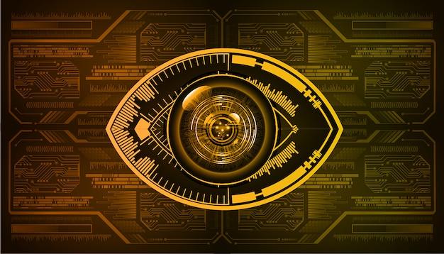 Pomarańczowego oka cyber obwodu przyszłościowy technologii pojęcia tło