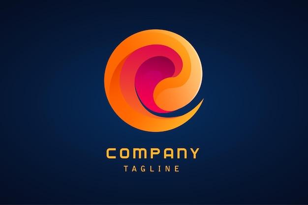 Pomarańczowo-fioletowe abstrakcyjne logo firmy gradientowe wirowe tornado