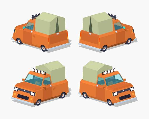 Pomarańczowy 3d lowpoly izometryczny pickup z namiotem