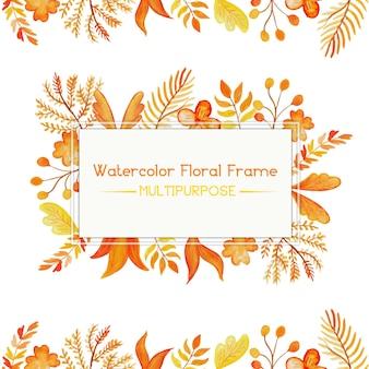 Pomarańczowy akwarela ramki floral multipurpose