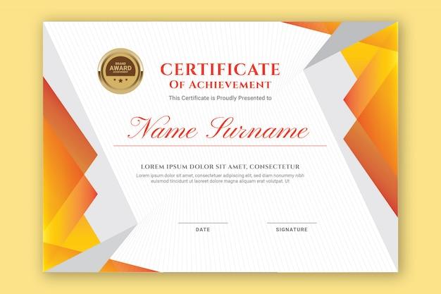 Pomarańczowy certyfikat