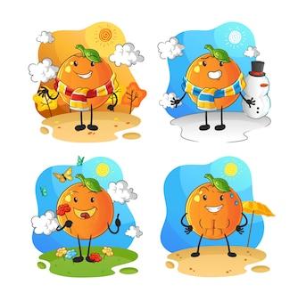 Pomarańczowy charakter grupy sezonowej. kreskówka maskotka