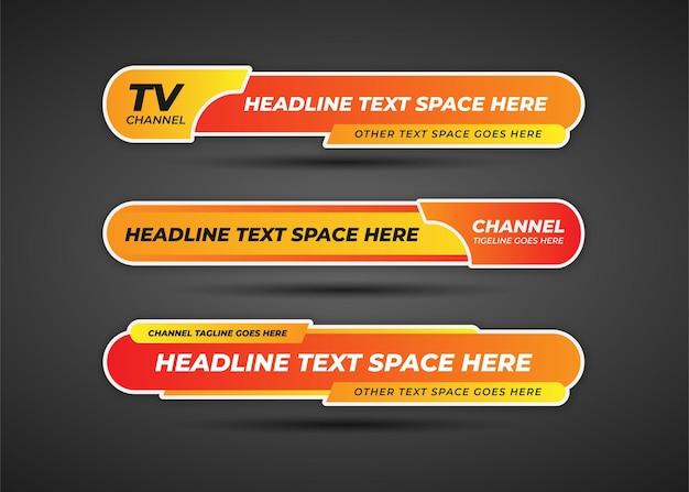 Pomarańczowy dolny trzeci baner z łamanymi wiadomościami w stylu gradientu
