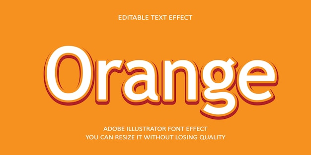 Pomarańczowy edytowalny efekt tekstu wektorowego