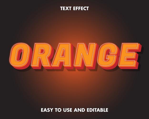 Pomarańczowy efekt tekstowy. edytowalny efekt tekstowy i łatwy w użyciu. ilustracja wektorowa premium