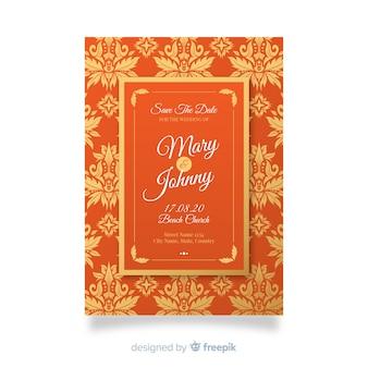 Pomarańczowy elegancki adamaszku szablon zaproszenia ślubne