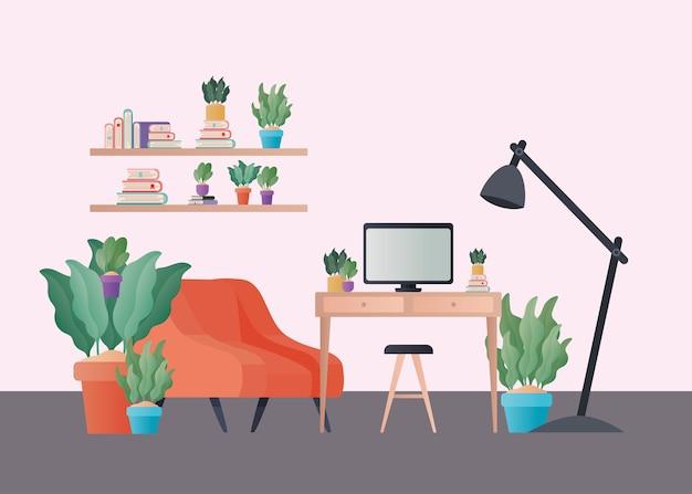 Pomarańczowy fotel i biurko z roślinami w projekcie salonu, dekoracja wnętrz mieszkalnych budynku mieszkalnego i motywu mieszkalnego