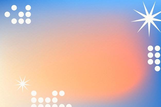 Pomarańczowy gradientowy wektor tła w abstrakcyjnym stylu memphis z funky border