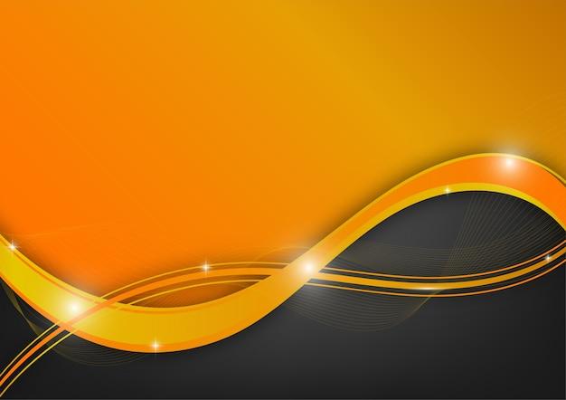 Pomarańczowy i czarny falowy abstrakcjonistyczny wektorowy tło z kopii przestrzenią