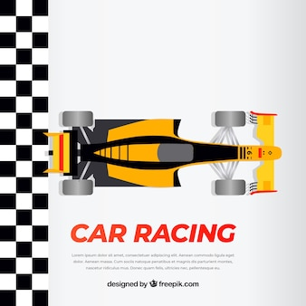 Pomarańczowy i czarny samochód wyścigowy f1 przecina linię mety