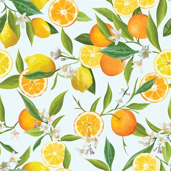 Pomarańczowy i limon tropikalny wzór. ilustracja kwiatów, liści i owoców.