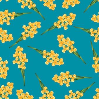 Pomarańczowy irysowy kwiat na indygowym błękitnym tle