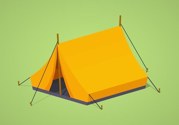 Pomarańczowy izometryczny namiot kempingowy 3d lowpoly