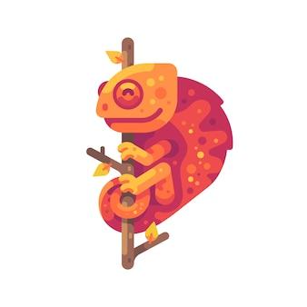 Pomarańczowy kameleon siedzi na gałęzi drzewa. egzotyczne zwierzę płaskie ilustracja