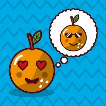 Pomarańczowy kawaii owoc z mowy bąbla charakterem