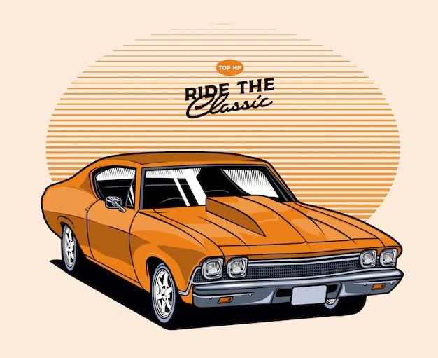 Pomarańczowy klasyczny samochód