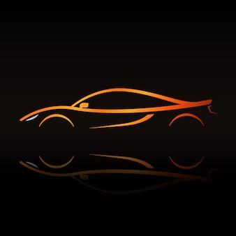 Pomarańczowy kontur supersamochodu elegancki znak dla twojej firmy