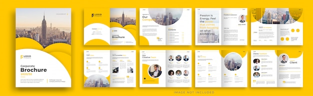 Pomarańczowy korporacyjnych wielostronicowych broszura szablonu projektu